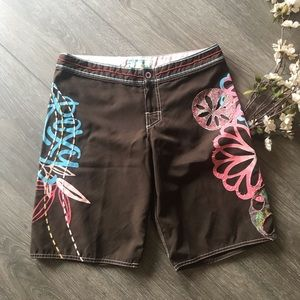 Roxy board shorts brown surfing